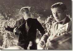 Elvis Presley and Scotty Moore on stage at Russwood Park, Memphis, TN - July 4, 1956