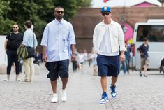 FLORENCE, ITALY - JUNE 15: Thian Pillay and Matteo Marucci wearing shorts is seen during Pitti Immagine Uomo 92. at Fortezza Da Basso on June 15, 2017 in Florence, Italy. (Photo by Christian Vierig/Getty Images)