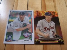 JUSTIN VERLANDER 2014 Topps Opening Day (2) Card Lot Base & Fired Up Insert