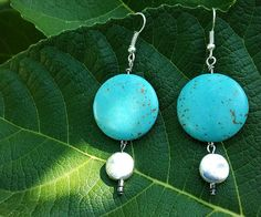 Luna Rae Originals - Turquoise and Silver Circle Dangle Earrings www.lunaraeoriginals.etsy.com