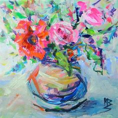 """Daily Paintworks - """"Party Flowers"""" - Original Fine Art for Sale - © Mary Schiros"""
