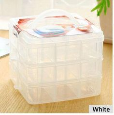 Portable 18 Grids Clear Plastic Jewelry Cosmetic Makeup Beads Box Organizer Storage Container with Adjustable Dividers for Girls