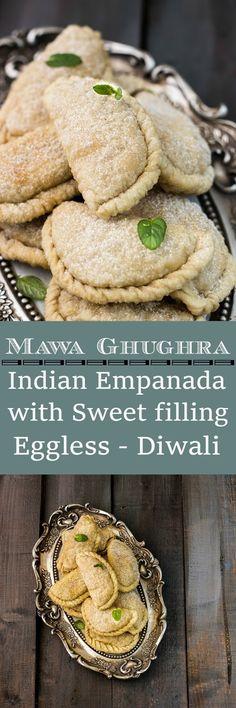 Mawa Ghughra recipe-learn how to make mawa gujiya. A traditional deep fried treat made with khoya and nuts.