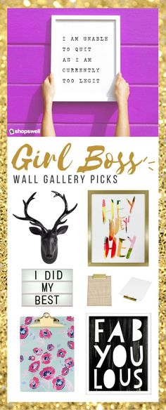 Create a chic girl boss wall gallery with these trendy office decor picks. YouTube video included!