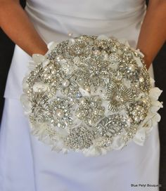 Crystal and Hydrangea Brooch Bouquet