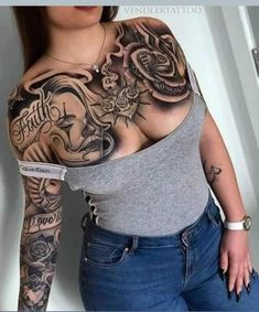 best=Girl Tattoos Chest Pictures Cute Girl Tattoos Chest , We carry the best designer prom dresses! Tattoo Life, Payasa Tattoo, Temp Tattoo, Tattoos Realistic, Fake Tattoos, Hot Tattoos, Body Art Tattoos, Tribal Tattoos, Sleeve Tattoos