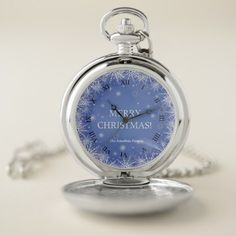 Trendy White Snowflakes on Blue Background Pocket Watch - merry christmas diy xmas present gift idea family holidays