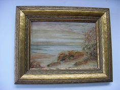 "Antique Glenn Bastian Landscape Sand Dunes Oil Painting Offered for sale is a nice old small painting by Indiana painter Glenn Bastian.  It is in great condition, measuring 9 and 3/4"" by 7 and 3/4"".  Framed in a gilded wood frame.  signed with initials on the front and the title and signature on the back.   $150.00 or Best Offer +$12.00 shipping"
