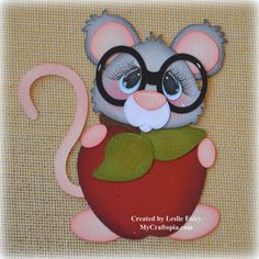 Mouse with an apple School Premade Scrapbooking by MyCraftopia, $5.95