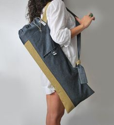 c9cfc145a1a2 Handmade yoga mat bag Pilates bag Blue gray denim Yellow cotton Yoga tote  Stylish women mat