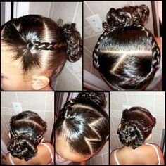 Hair style for girls with curly hair. Zig zag part. In this style I did the front half part in the zig zag with two braids. They connect in the back to the sock bun. Quick style takes 5 mins. # zig zag Braids for kids # zig zag Braids for kids Lil Girl Hairstyles, Girls Natural Hairstyles, Toddler Hairstyles, Kids Hairstyle, Hairstyle Ideas, Braided Hairstyles, Hair Ideas, Short Curly Hair, Curly Hair Styles