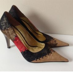 "Amazing Cecconello Heels Sz 8 Cecconello heels. Sz 8.  Fab leather patchwork.  4"" heel.  Excellent condition! Cecconello Shoes Heels"