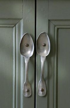 "LOVE, LOVE, LOVE this great idea for unique cabinetry ""pulls!""  Shared via the 'Belgian Pearls' Blog"