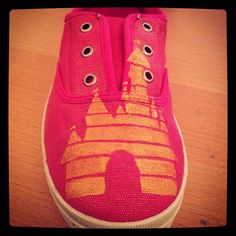 Disney castle painted shoes @Amy Lyons Cooper since I know you and your family are all things disney right now lol