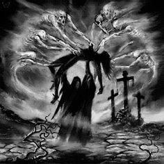 "whitesoulblackheart: "" Profane Genocidal Creations Album Artwork © (Please leave credit … Ƹ̴Ӂ̴Ʒ) "" Dark Artwork, Skull Artwork, Dark Art Drawings, Grim Reaper Art, Grim Reaper Tattoo, Grim Reaper Images, Arte Horror, Horror Art, La Muerte Tattoo"