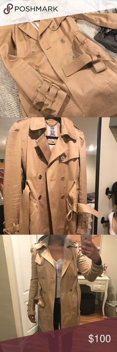 """JUICY COUTURE - trench coat Gently worn. 100% cotton fabric in great condition. Gold hardware a little worn (as shown in pictures). Fits like a jounior xs. Please check my """"meet your seller"""" post for more sizing info. Juicy Couture Jackets & Coats Trench Coats"""