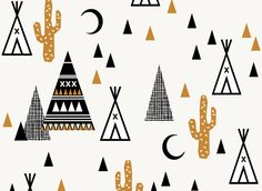 Tipi Fabric - Tipi Sand Southwest Baby Cactus Teepee Trendy Hipster Fabric By Charlotte Winter Cotton Fabric By The Yard with Spoonflower