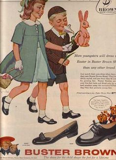 Buster Brown shoes! For girls, the strap could be worn over the foot or turned back. Loved it!