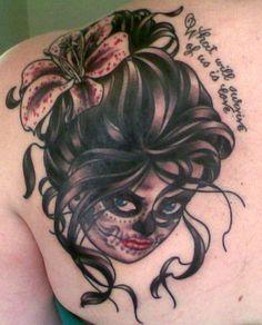 Shoulder Tattoos For Women | Girl Face Tattoo On Shoulder