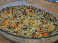 lentilles vertes, lardons fumés, oignon, carotte, crème fraîche