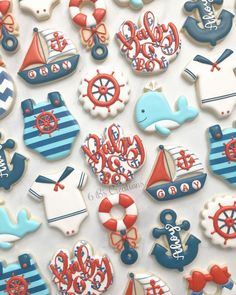 Ahoy it's a Boy cookies for a nautical themed baby shower! I loved the colors on these! 😍 I was looking for a good navy airbrush color and… - Baby Shower Baby Shower Cakes For Boys, Baby Shower Decorations For Boys, Boy Baby Shower Themes, Baby Boy Shower, Ocean Baby Showers, Anchor Baby Showers, Baby Boy Cookies, Baby Shower Cookies, Cookies Et Biscuits