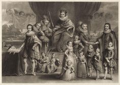 ЧАСТЬ Династия Яков I.James I,King of England, and his royal progeny, by Charles Turner,from a mezzotint by Samuel Woodburn after Willem de Passe(died Charles Turner, Hugues Capet, Anne Of Denmark, Tsar Nicolas Ii, House Of Stuart, King James I, Prince Of Wales, British Museum, A4 Poster