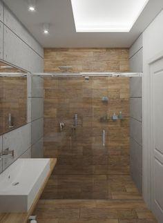 kleines bad ideen fliesen holzoptik begehbare dusche glas schiebetüren rahmenlos