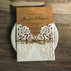rustic craftpaper laser cut invitations with twines EWWS071