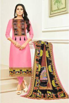 Baby Pink Color Cotton Printed Unstitched Traditional Straight Suit Latest Salwar Kameez Designs, Salwar Kameez Online, Stylish Suit, Casual Suit, Churidar Suits, Patiala Salwar, Lehenga Choli, Anarkali, Saree
