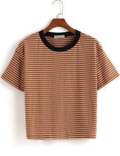 camiseta cuello contraste rayas-kaki 11.04
