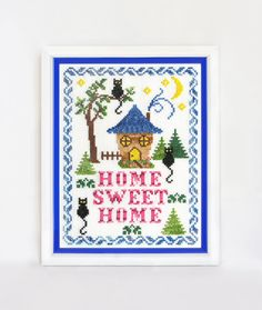 Finished embroidery cross stitch Home sweet home Original gift cosiness Handmade homey Home Decor Wall bright lodge Cross Stitch household.  Materials : mouline DMC, fabric Aida 14 - count white, plastic frame. Finished design size : 15 x 20 cm, 5,91 x 7,87 in.  If you like the design of embroidery, but you want to do it yourself, go here : https://www.etsy.com/listing/246285134/cross-stitch-pattern-pdf-home-sweet-home?ref=shop_home_active_13  Thank you! Yours Natasha and Katya :)