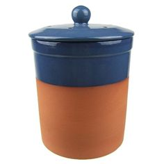 Terracotta Ceramic Kitchen Compost Caddy (Blue colour) - Chetnole ceramic composting Bin for Food Waste Recycling
