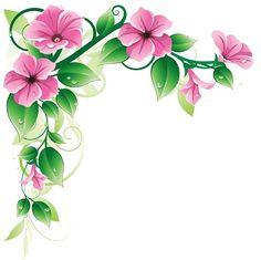 Flower Clip Art Borders and Frames - Bing images Art Floral, Floral Flowers, Spring Flowers, Flowers Garden, Exotic Flowers, Green Flowers, Flower Frame, Flower Art, Art Flowers