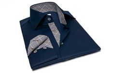 Navy Shirt Twisted Navy Tartan Lining, Waisted-fit - #frenchflair $84.90