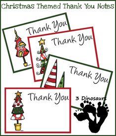 Free Christmas Thank You Notes Printable - 3Dinosaurs.com