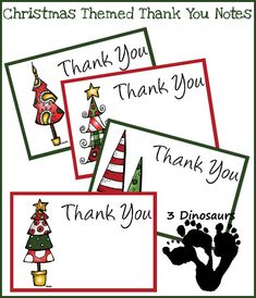 Free Christmas Thank You Notes (and lots of other free Christmas printables) from 3 Dinosaurs
