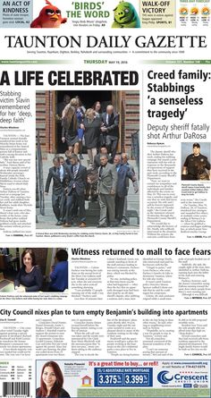 The front page of the Taunton Daily Gazette for Thursday, May 19, 2016.