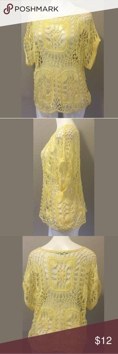 "Maurices X-large open Knit yellow overlay top Excellent Preowned condition Maurices size x-large open Knit yellow overlay top. Great for beach ware. Dolman short sleeve. 100% Acrylic. Bust 22"" armpit to armpit. Length 24"" shoulder to hem. Measurements are approximate. Maurices Tops"