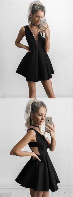 Cute Homecoming Dress,Deep V-Neck Homecoming Dress,A-Line Homecoming Dress,Short Prom Dress