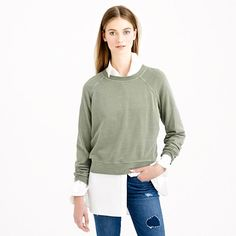 New short over long shapes...J.Crew - Lightweight cropped sweatshirt