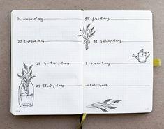 Bullet journal weekly layout, plants in glass jar drawing, plant doodles.   @jiwenstudies