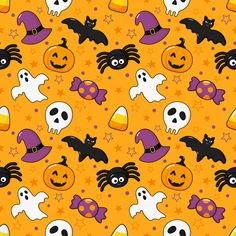 Seamless pattern happy halloween icons isolated on orange Halloween Icons, Feliz Halloween, Halloween Quotes, Halloween Design, Halloween 2020, Holidays Halloween, Happy Halloween, Hello Kitty Halloween, Halloween Patterns