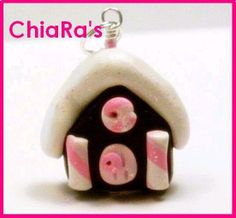 Polymer Clay  Pink Gingerbread House Charm by CharmthisClayCharms, $3.00