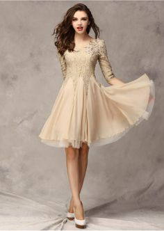 Vintage Pearl Flower Long Sleeve Slim Lace Beige Prom Evening Cocktail Dress | eBay