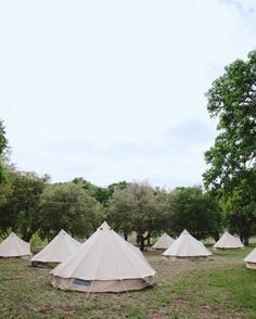 Because the couple wanted their wedding to feel like a music festival, overnight accommodations in pitched canvas tents were offered to the wedding party and their plus ones.