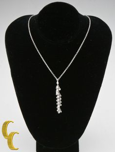 "18k White Gold Chain 13"" Choker Necklace with Diamond Tassle Pendant TDW = .50ct #Unbranded #Pendant"
