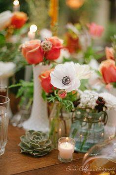 orange + white floral centerpieces