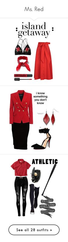 """""""Ms. Red"""" by sanestyle ❤ liked on Polyvore featuring Lisa Marie Fernandez, Topman, NYX, Viereck, Christian Louboutin, Balmain, Mixit, Hollister Co., Native State and Elisabeth Weinstock"""