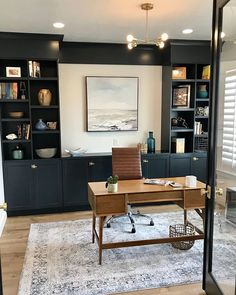 40 Modern Home Office Ideas - A modern home office is not meant to be overly ornate. Instead, it should only have minimal furniture and be free of clutter. Home Office Setup, Home Office Space, Office Ideas, Office Interior Design, Office Interiors, Office Designs, Modern Interior, Office Built Ins, Interior Decorating Styles
