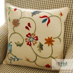 Simple Colorful Flowers Embroidery Pillow : Cozyhere  Love!!